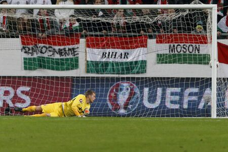 qualifier: BUDAPEST, HUNGARY - NOVEMBER 15, 2015:The first Hungarian goal is watched by Norwegian goalkeeper Orjan Nyland during Hungary vs. Norway UEFA Euro 2016 qualifier play-off football match at Groupama Arena.