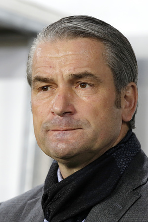 match head: BUDAPEST, HUNGARY - NOVEMBER 15, 2015: Hungarian head coach, the German Bernd Storck during Hungary vs. Norway UEFA Euro 2016 qualifier play-off football match at Groupama Arena.
