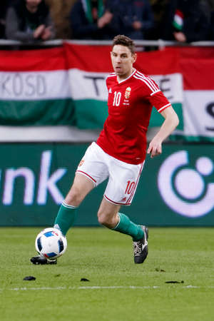 teammate: BUDAPEST, HUNGARY - MARCH 26, 2016: Hungarian Zoltan Gera is with the ball during Hungary vs. Croatia international friendly football match in Groupama Arena. Editorial