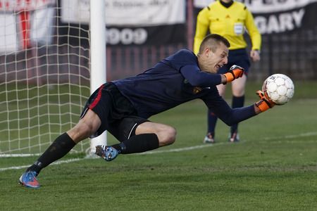 teammate: BUDAPEST, HUNGARY - APRIL 2, 2016: Goalkeeper Andras Horvath of Honved saves the ball during Budapest Honved - Videoton OTP Bank League football match at Bozsik Stadium.