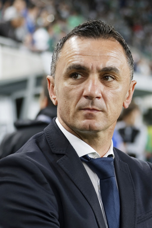 match head: BUDAPEST, HUNGARY - MAY 7, 2016:  Head coach Nebojsa Vignjevic of Ujpest FC during the Hungarian Cup Final football match between Ujpest FC and Ferencvarosi TC at Groupama Arena on May 7, 2016 in Budapest, Hungary. Editorial