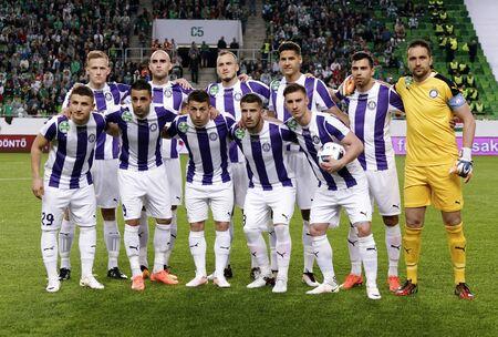 BUDAPEST, HUNGARY - MAY 7, 2016:  The team of Ujpest FC - upper row from left to right: Benjamin Cseke, Jonathan Heris, Robert Litauszki, Akos Kecskes, Nemanja Andric, Szabolcs Balajcza; lower row from left to right: Enis Bardhi, Laszlo Lencse, Kylian Haz