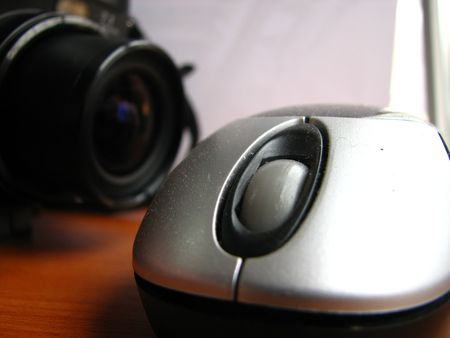 digital camera taking picture of a mouse closeup Stock Photo