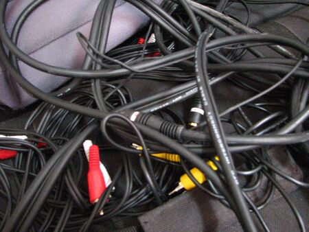 a bunch of video and audio cables Stock Photo