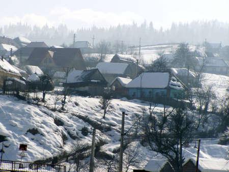 little mountain village in winter