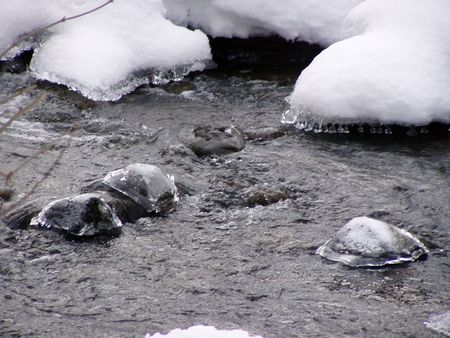 snowy and icy rocks sticking out of the water
