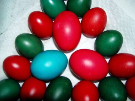 red and green easter eggs Stock Photo