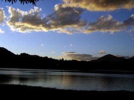 sunset over a mountain lake
