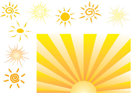vectorial: 9 different styles of vectorial sun graphic - clipart