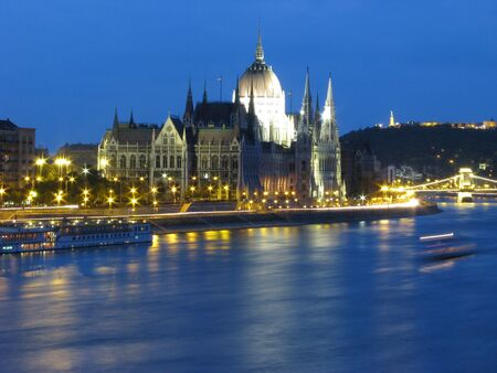 The Danube in Budapest at night