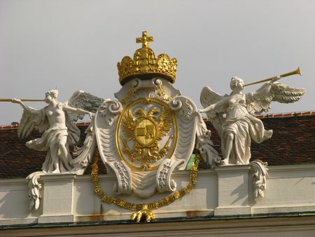 The royal crown on the Hofburg palace, Wien Stock Photo