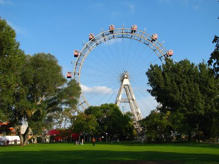 The giant ferris-wheel in the viennese Prater Stock Photo