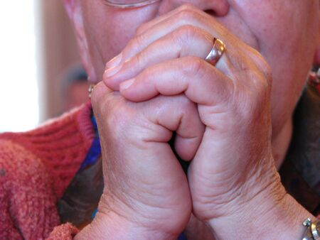 close up of old womans hand Stock Photo