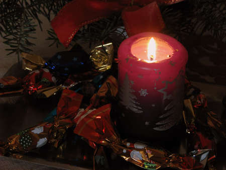 christmas candle and candy - decoration