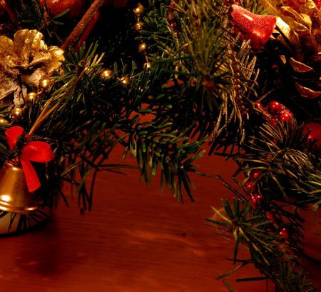 part of christmas tree with decorations - isolated photo