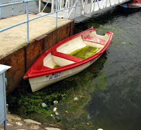 contaminated: abandoned boat in contaminated water