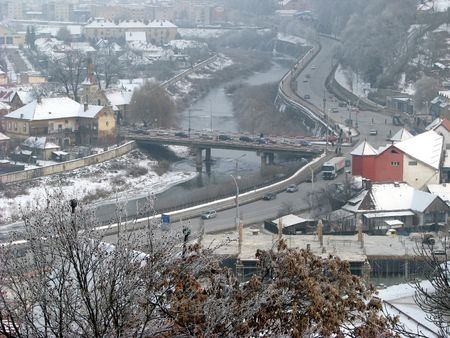 tranquille: road and bridge - winter scenery in a small city