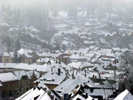 sub zero: snowy roofs in winter village Stock Photo