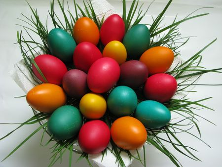 colored easter eggs in a basket Stock Photo - 2743498
