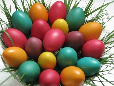 easter eggs on a plate - closeup