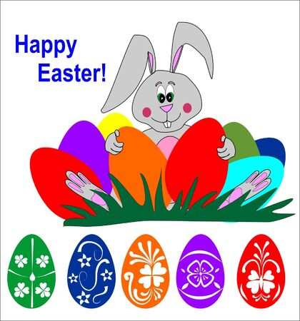 easter illustration bunny holding colored easter eggs Vector