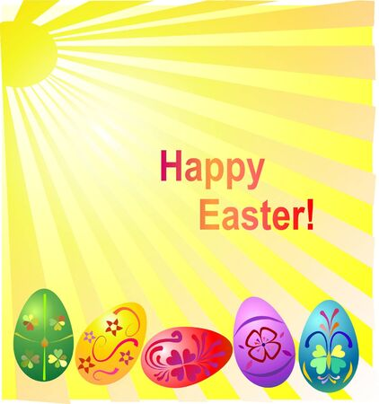 easter illustration with colored eggs
