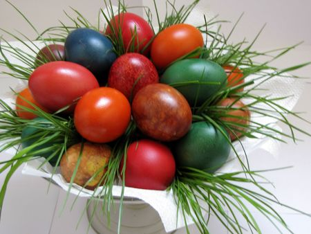 colored easter eggs on white background closeup