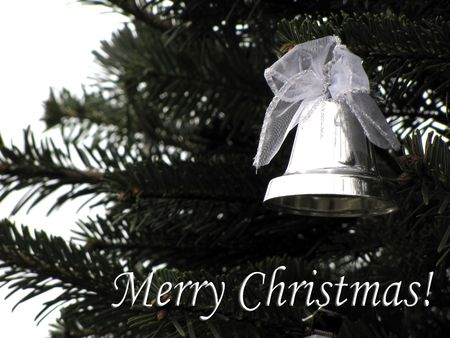 Merry Christmas greeting with silver bell