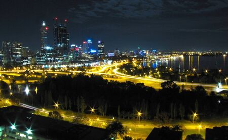 night landscape view of Perth Australia photo
