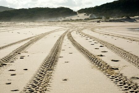 4wd: Off-road driving tyre marks on a beach Stock Photo
