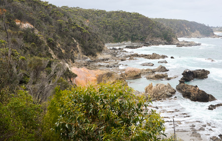 unaffected: rugged coastline with rocks and blue seas Stock Photo