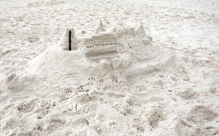 sandcastle: Amateur sandcastle built from extremely white sand