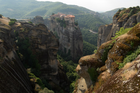kalabaka: Cliff top monastery at Meteoras, Greece