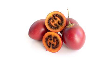 tomate de arbol: Fresh tamarillo fruit isolated on white background