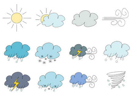 sleet: Twelve weather vector icons simplistic line art