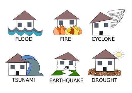 line drawings: Six natural disaster line drawings  icons vector illustration