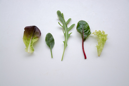 roquette: Individual leafy green salad ingredients side by side Stock Photo