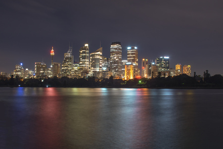 mrs: Night time view of Sydney city from Mrs Macquaries chair