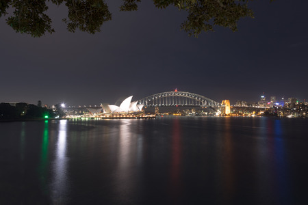 Night time view of Sydney city from Mrs Macquaries chair