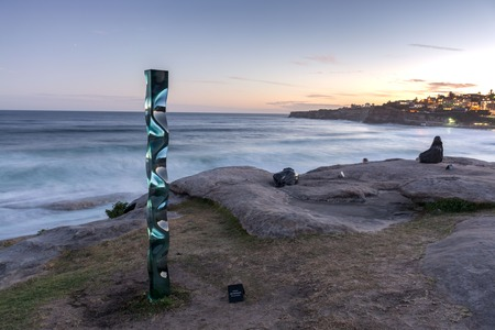 5th of November 2016, Bondi Beach, Sydney, Australia. Toshio Lezumis M151201 sculpture during the Sculpture by the Sea yearly free outdoor exposition Editorial