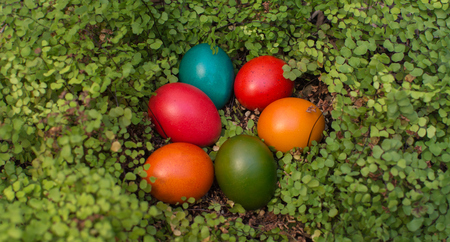 Dyed colourful easter eggs - Eastern European tradition