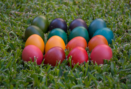 colourful Easter eggs in grass arranged by colour