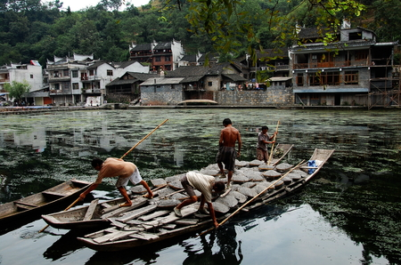 boatman: Scenery in the Fenghuang ancient town, Hunan, China