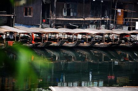 hunan: Boats in the river of Fenghuang ancient town, Hunan, China