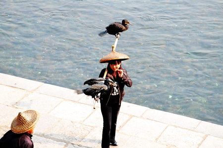 bamboo stick: A woman holding bamboo stick with birds