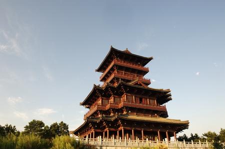 lou: Ancient Wang hua tower at Tian ping lake