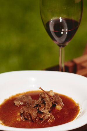 beef stew: Red wine and beef stew Stock Photo