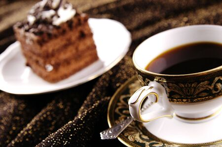 Cake with cup of coffee photo