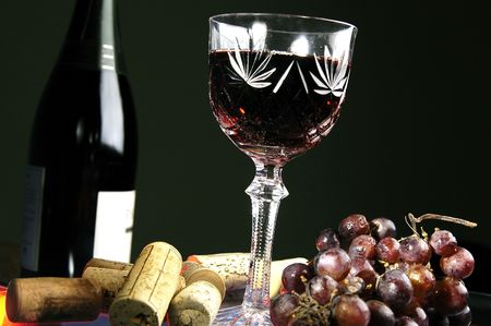 after midnight: Glass with wine Stock Photo