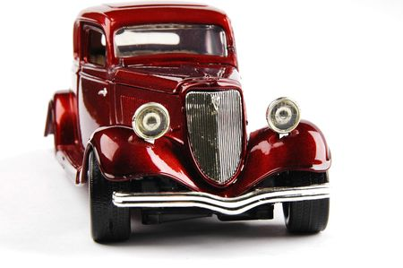 oldtimer: Red retro car Stock Photo